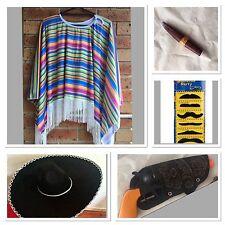 Mexican Poncho Sombrero Hat Cigar Gun Wild West Cow Boy Adult Bandit Costume Set