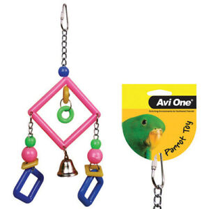 Avi One Hanging Toy 2 Diamonds Bell Bite Play Budgie Finch Canary Conure Toy