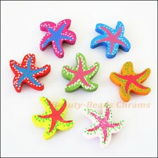 20 New Charms Mixed Wood Sea Starfish Spacers Beads Craft DIY 19x21mm