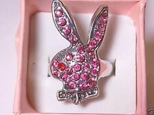 Women's Pink Rhinestone Playboy Bunny Tibetan Ring, W/Gift Box!