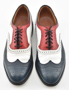 CUSTOM MTO | ALLEN EDMONDS 12D RED WHITE BLUE SPECTATOR BROADSTREET SHOES