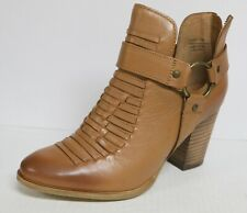 SEYCHELLES  IMPOSSIBLE WOMEN'S SIZE 7 TAN HARNESS ANKLE BOOTS BOOTIES LEATHER