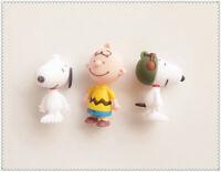 "LOT OF 3 Peanuts Snoopy Character MINI Figure 3"""