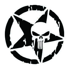 Punisher Star Skull Pentagram Car Sticker Vinyl Decal Truck Window 13x13cm Black