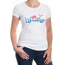 Damen Kurzarm Girlie T-Shirt Wassernixe Fabelwesen Märchen Meerjungfrau