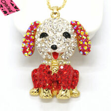 Hot Betsey Johnson Cute Cute Red Puppy Animal Crystal Pendant Chain Necklace
