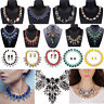 Ladies Fashion Crystal Pendant Choker Chain Statement Chain Bib Necklace Jewelry