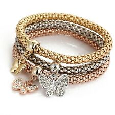 Triple Gold Silver And Rose Gold Tones Butterfly Charm Stretch Bracelet