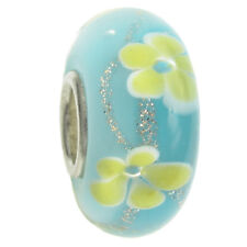 Round Flower Murano Glass Bead with Sterling Silver for European Charm Bracelet