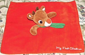 Rudolph MY FIRST CHRISTMAS Reindeer Red NOSED Lovey Security Blanket Satin Toy
