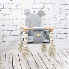BAMBINIWELT Babyschaukel Babysitz Kinderschaukel Stoff Holz Deckenaufhängung