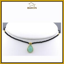 CHALCEDONY CHOKER BLACK SPINEL STERLING SILVER ADJUSTABLE 13' - 16' INCH CHOKER