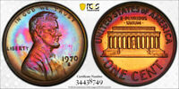 1970-S Lincoln Memorial Cent Penny 1c PCGS PR66 RB  AWESOME RARE RAINBOW TONING