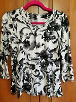 Womens Size Small S Croft and Barrow Floral 3/4 Sleeve Top Blouse
