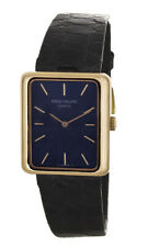 Vintage Patek Philippe Geneve Ladies Blue Dial 18k Black Leather Ladies Watch