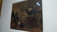 Henry Monnier - groupe de personnages et chien - signé daté encadré