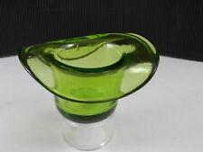 "Art Glass Figural Toothpick Match Holder Hat Green Polished Base 2 1/4"" T"