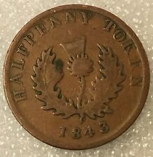 1843 CANADA NOVA SCOTIA HALFPENNY 1/2 PENNY TOKEN COIN, FREE COMBINED SHIPPING
