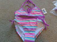 aeropostale kids ps girls' rainbow stripe bikini set swim NWT