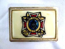 "V.F.W. Ladies Auxiliary Belt Buckle Gold-tone Vintage 3.25"" long x 2.25"" tall"