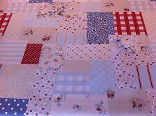 Fryett'S Vintage Patchwork blu cotone tessuto per tenda / Tappezzeria / CUSCINI