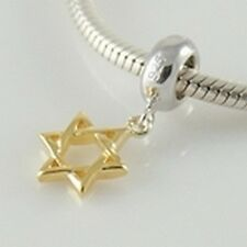 STAR OF DAVID-Gold plated-Solid 925 sterling silver European pendant/charm bead