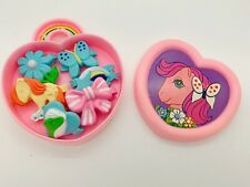 Vintage G1 My Little Pony UK Exclusive Pink Jewellery Box Hair Clips Barrettes