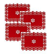 Beautiful Christmas Placemats & Coasters Set Snowflake Lazercut Red Felt Table