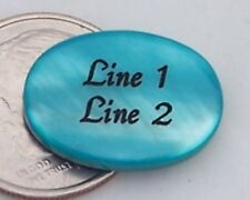 10 PERSONALIZED Turquoise Oval Mother of Pearl Shell Beads Custom Engraved 18mm