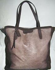 Coach Josie SnakeSkin Brown Suede Leather Extra Large XL Tote Shoulder Bag Purse