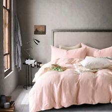 Merryfeel 100% French Linen Quilt Cover Set Bedding Queen King Pink Doona Cover
