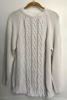 United Colors of Benetton Womens Sweater White Chunky Cable Knit Cotton Italy