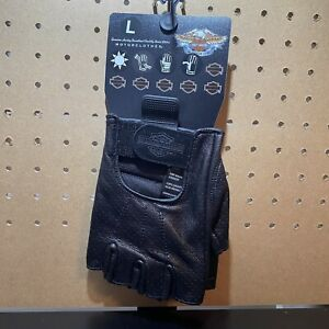 Harley-Davidson Men's Fingerless-Perforated Sz L  Leather Motorcycle Gloves NWT