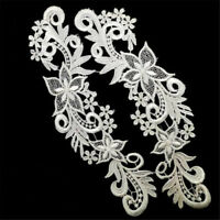 Embroidery DIY 1 Pair Lace Applique Sewing Motif Wedding Dress Trim Craft Flower