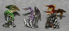 Dragon Statue Figure Miniature Ornament Fantasy Mythical Gothic Magic   Set 3 -D