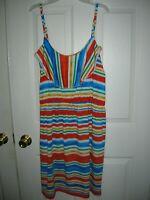 womens sun dress 2X multicolor stripes spaghetti strap T36