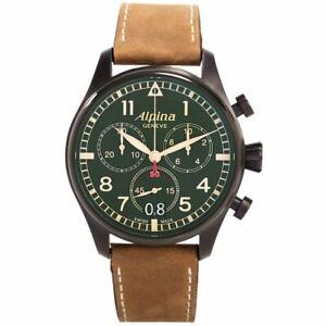 Alpina Quartz Men's Startimer Pilot Military Chronograph Watch AL372GR4FBS6