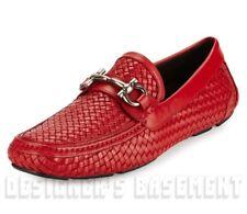 SALVATORE FERRAGAMO Red 9D braided PARIGI BIT driving Moccasin shoes NIB Authent