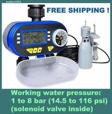 Digital Electronic Water Timer,Solenoid Valve, Garden Irrigation+Rain Sensor,NEW