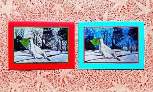 5 Handmade Deer Christmas Cards Block Print Linocut Holiday Card Set Wreath Blue