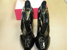 "BCBGirls 4"" Animal Print Heel Black Patent Leather Peep Toe FIONA Sandal Size 10"