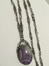 Vintage Sterling Silver Native American Amethyst Mexico Handmade Chain Necklace