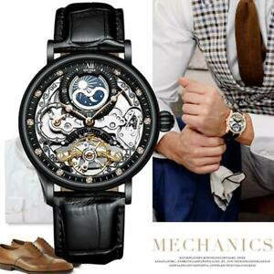 Dual Time Flywheel real cow Leather Luxury Skeleton Automatic Mechanical Watch