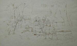 Simon Simonsen, ink drawing. Peasant women washing the sheep 1878