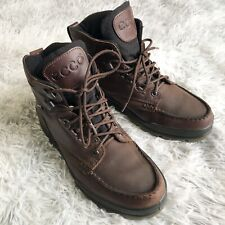 Ecco Track Gore Tex Moc Toe Brown Leather Lace Up  Boots Mens US 8 - 8.5 EUR 42