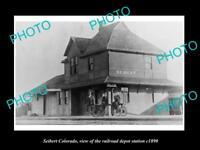 OLD LARGE HISTORIC PHOTO OF SEIBERT COLORADO, RAILROAD DEPOT STATION c1890