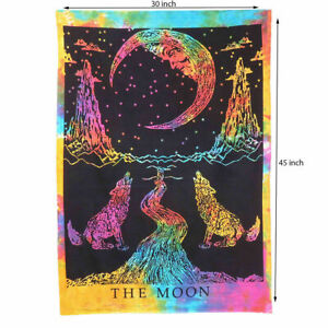 CRYING WOLF THE MOON TIE-DYE 45 X 30 INCH HOME DECOR 100% COTTON HANGING POSTER