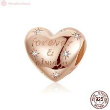 Charm Anhänger w.f. Pandora Herz Herzen Liebe Spruch Rosegold 925 Sterlingsilber
