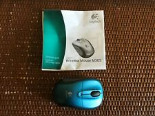 New LOGITECH M305 Wireless Mouse Blue Black Untested w/Guide No Box C6