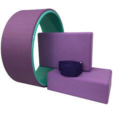 Yoga Pilates Wheel Set 4pcs Band & Blocks for Muscle Relaxing Stretching Purple